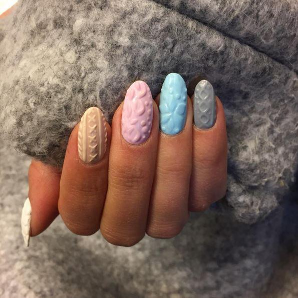 Effet tricot ongle