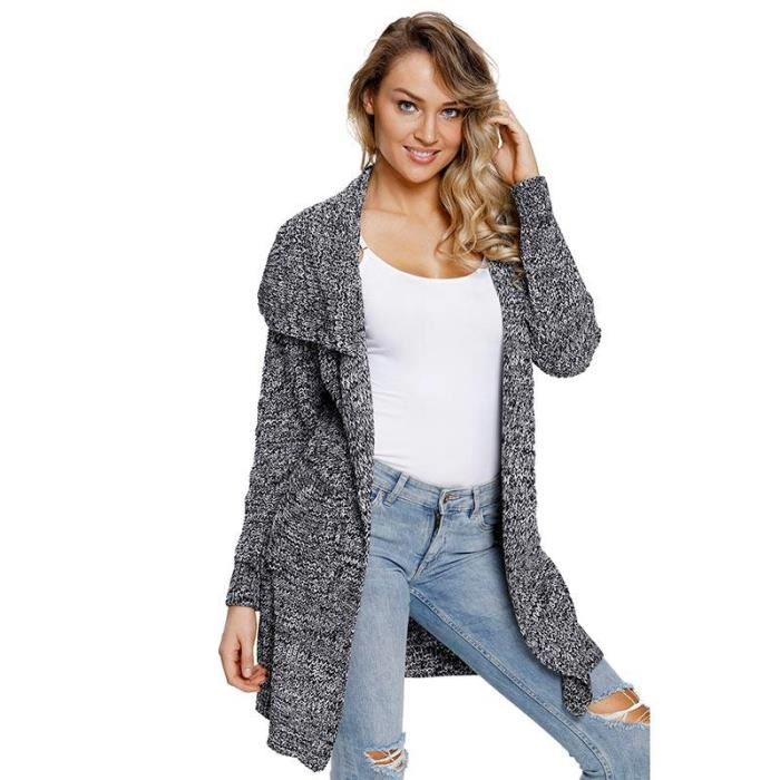 Cardigan femme tricot long